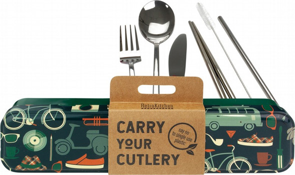 Retrokitchen Carry Your Cutlery - Retro Man Stainless Steel Cutlery Set