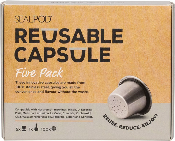 Sealpod Reusable Coffee Capsule Five Pack With 100 Lids