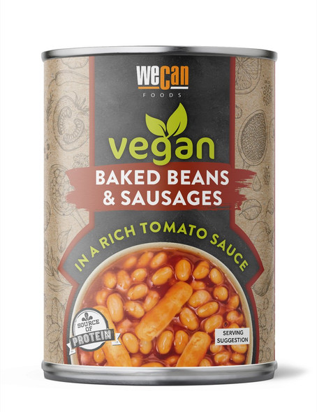 We Can Foods Baked Beans And Vegan Sausages 400g (Carton of 12)