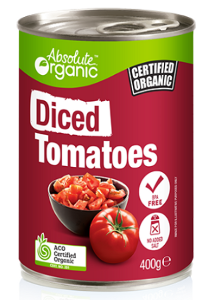 Absolute Organic Diced Tomatoes 400g x 12 Cans
