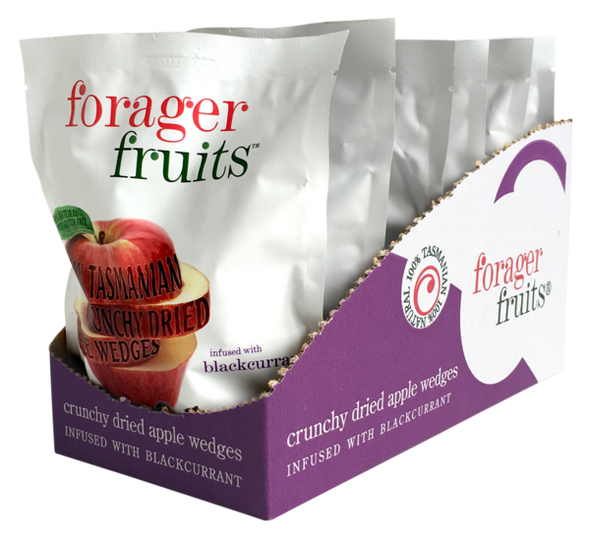 The Forager Food Co. Freeze Dried Apple Wedges Infused With Blackcurrant 20g (Carton of 6)