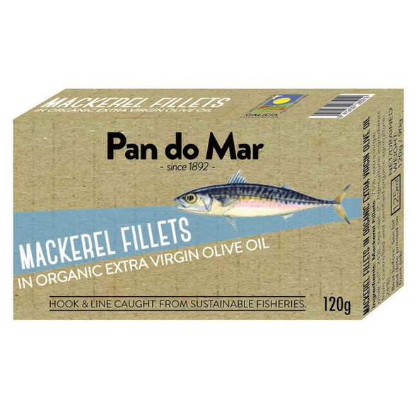 Pan do Mar Mackerel Fillets in Organic Olive Oil 120g x 5 Cans