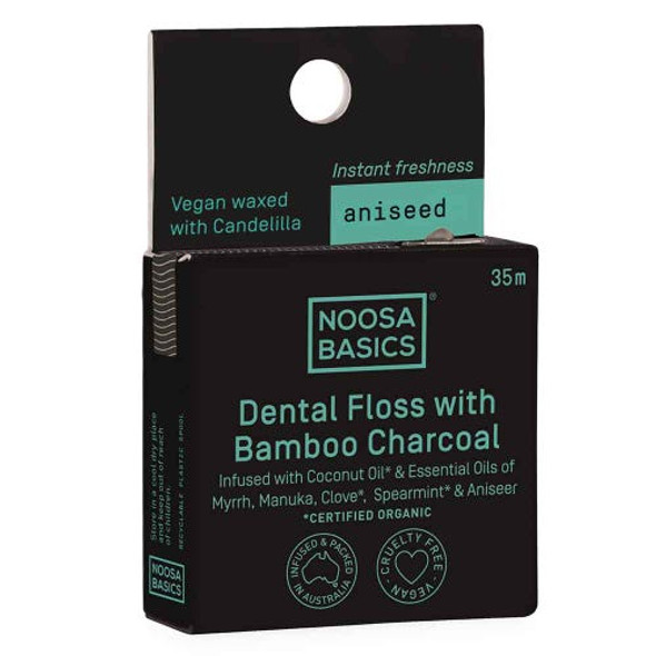 Noosa Basics Dental Floss with Activated Charcoal - Aniseed 35m