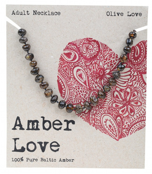 Amber Love Adult's Necklace 100% Baltic Amber Olive Love 46Cm