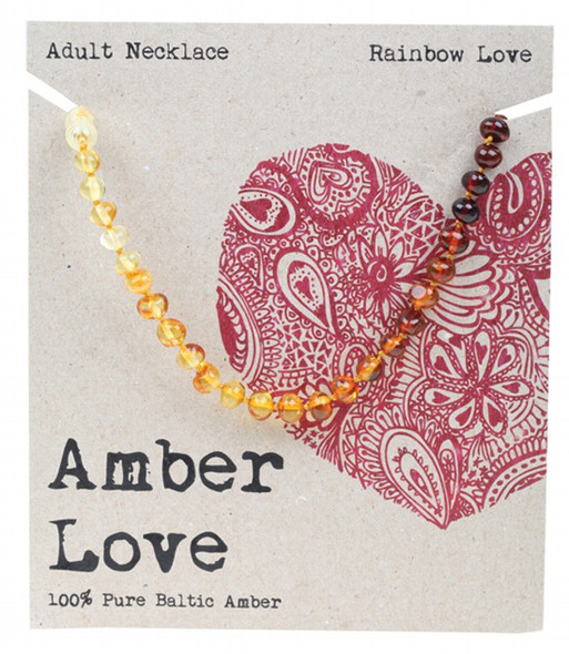 Amber Love Adult's Necklace 100% Baltic Amber Rainbow Love 46Cm