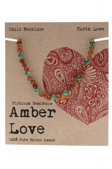 Amber Love Children's Necklace 100% Baltic Amber Earth Love 33Cm