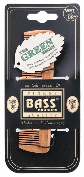 Bass Brushes Bamboo Wood Tortoise Comb Pocket Size Fine Tooth (Back  in Stock  08/01/2021)