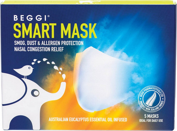 Beggi Smart Mask Infused With Aust. Eucalyptus Oil Box Of 5