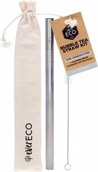 Ever Eco Bubble Tea Straw Kit Straight Stainless Steel + Cleaning Brush