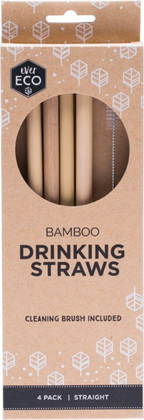 Ever Eco Bamboo Straws Includes Cleaning Brush 4-Pack