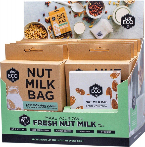 Ever Eco Nut Milk Bag Counter Display With Recipe Booklets 9Pcs