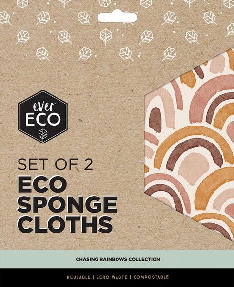 Ever Eco Eco Sponge Cloths Chasing Rainbows Collection Set Of 2