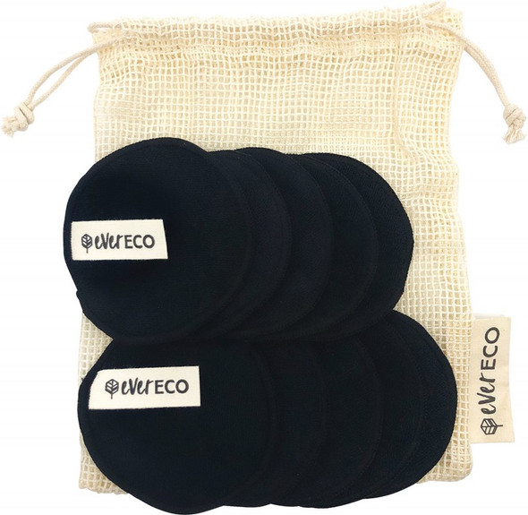 Ever Eco Reusable Bamboo Facial Pads Black With Cotton Wash Bag 10-Pack