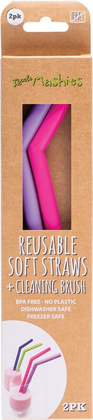 Little Mashies Reusable Soft Silicone Straws Pink & Purple + Cleaning Brush 2-Pack
