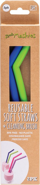 Little Mashies Reusable Soft Silicone Straws Blue & Green + Cleaning Brush 2-Pack