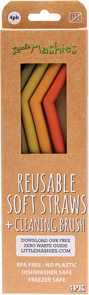 Little Mashies Reusable Soft Silicone Straws Earth Tones + Cleaning Brush 4-Pack