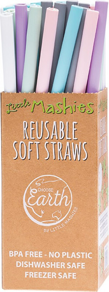 Little Mashies Reusable Soft Silicone Straws Counter Display + Cleaning Brushes 50-Pack