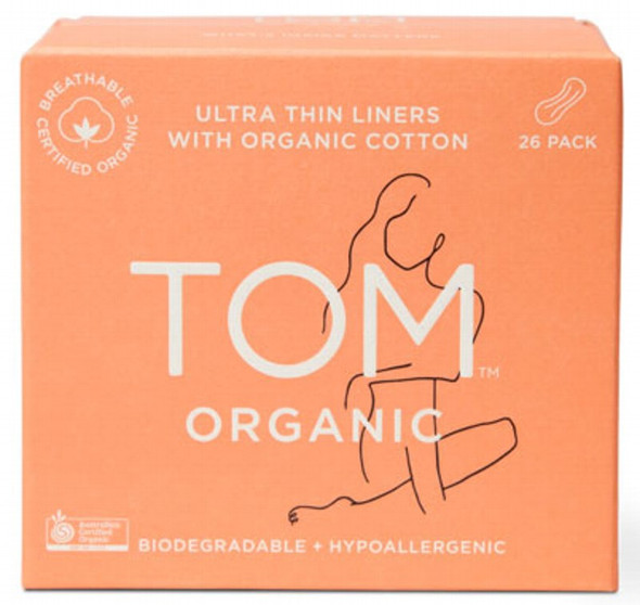 Tom Organic Panty Liners (Wrapped) Ultra Thin Liners For Everyday 26 Pcs