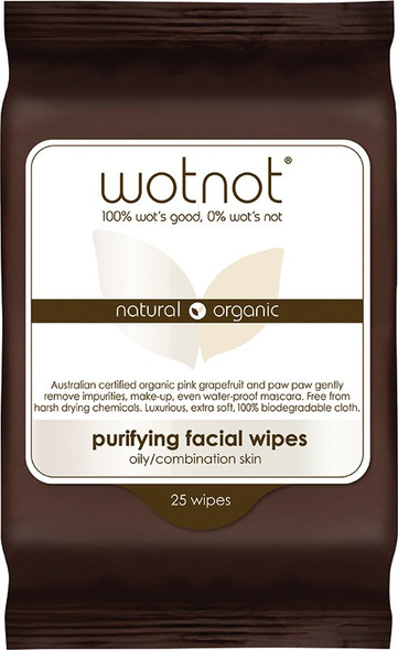 Wotnot Purifying Facial Wipes Oily/Combination Skin 25 Wipes