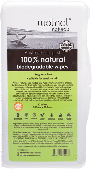 Wotnot Wipes With Case 100% Biodegradable 20 Wipes