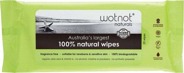 Wotnot Wipes With Case Refill Pack 100% Biodegradable 20 Wipes