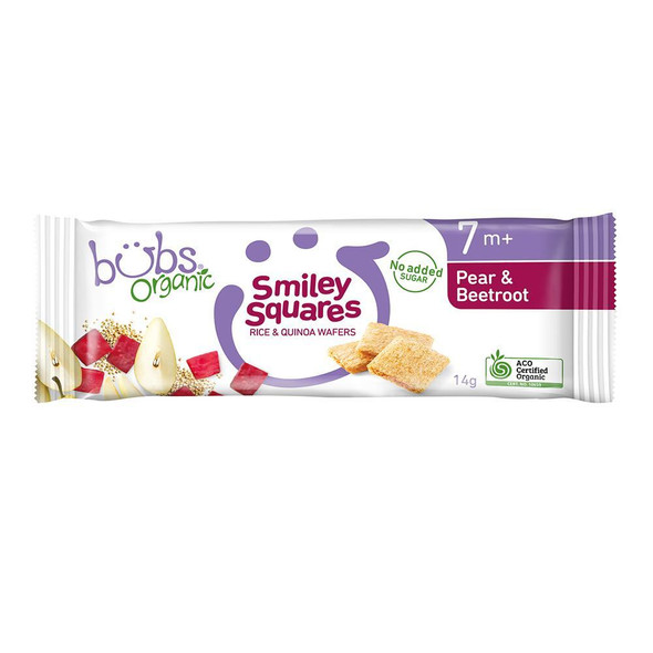 Organic Bubs Smiley Squares Pear & Beetroot 14g x 14