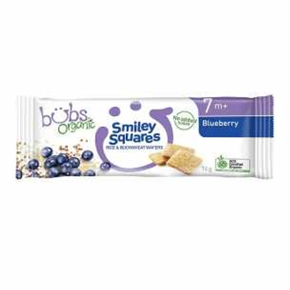 Organic Bubs Smiley Squares Blueberry 14g x 14