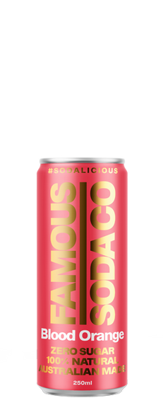 Famous Soda Co Blood Orange 4-Pack Cans 250ml (Carton of 6)