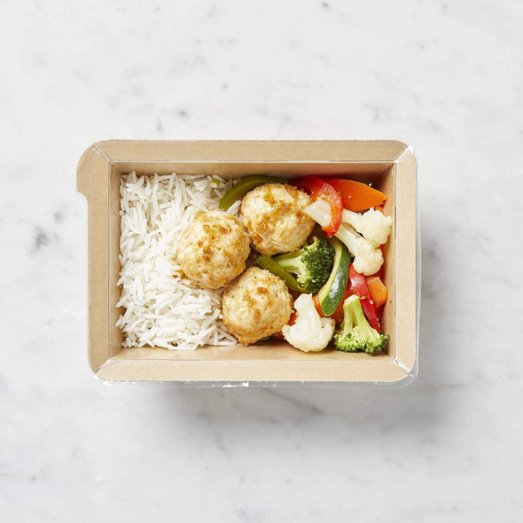 Dineamic Meal Sticky Thai Chicken Meatballs With Basmati Rice & Steamed Vegetables 360g (Carton of 5)