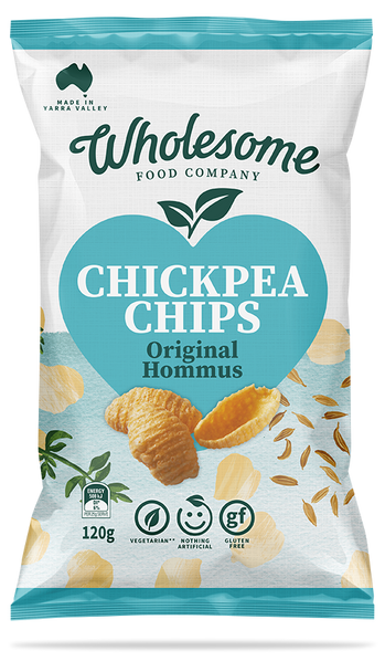 Wholesome Food Company Chickpea Chips - Hommus 120g (Carton of 4)