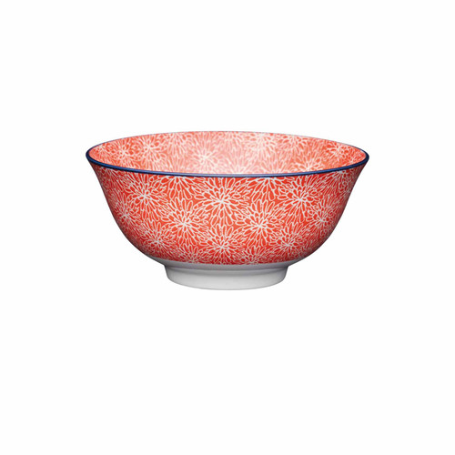 KitchenCraft Red Floral and Blue Edge Ceramic Bowl