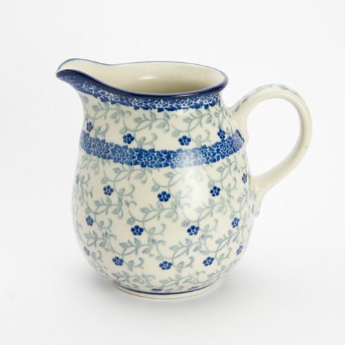 Polish Pottery 0.5 Litre Jug Forget-me-not