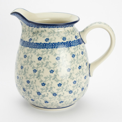 Polish Pottery 1 Litre Jug Forget-me-not