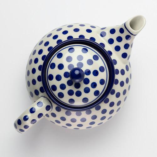 Polish Pottery 1.2 Litre Teapot Small Blue Dot