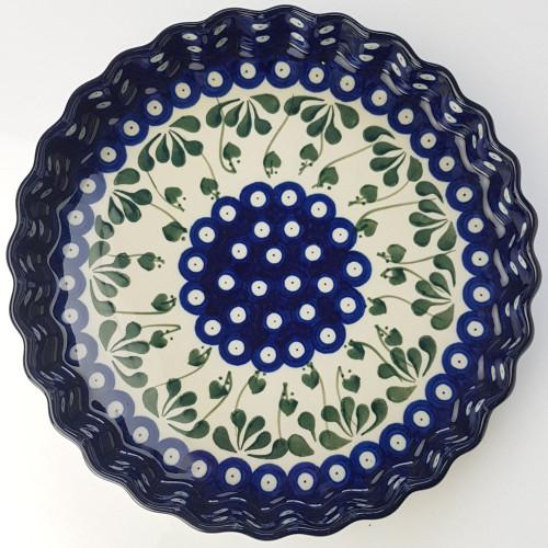 Polish Pottery 24cm Quiche Dish Love Leaf