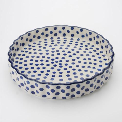 Polish Pottery 24cm Quiche Dish Small Blue Dot