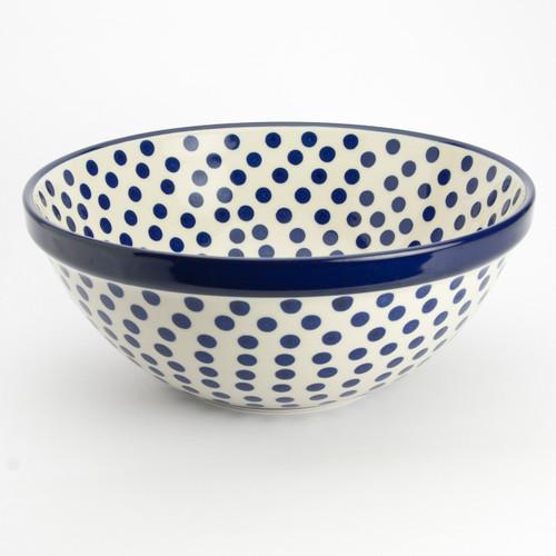 Polish Pottery 24cm Serving Bowl Small Blue Dots