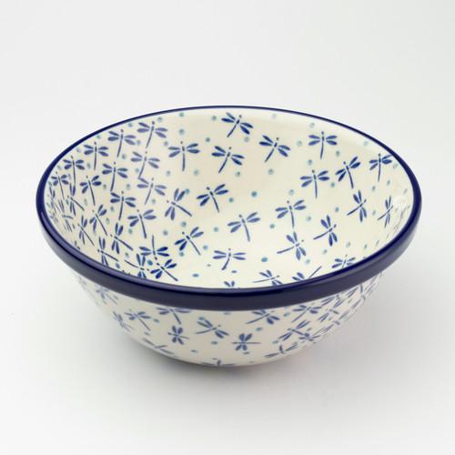 Polish Pottery Dessert Bowl - Dragonfly - 17cm D x 7.5cm H