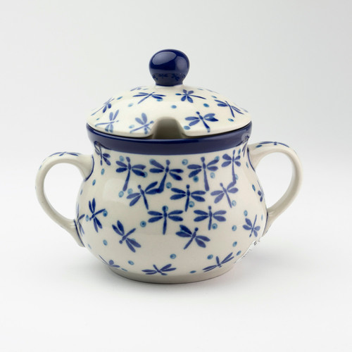 Polish Pottery Sugar Bowl - Dragonfly