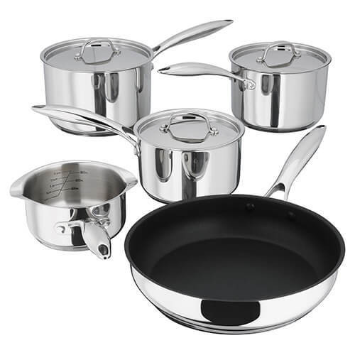 Stellar 7000 Stainless Steel 5 Piece Pan Set with Glass Draining Lids