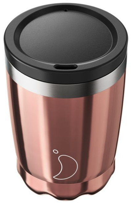 Chillys 340ml Chrome Rose Gold Coffee Cup
