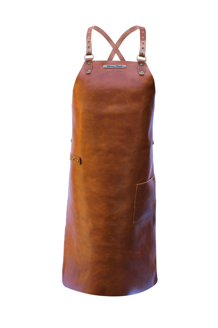 Stalwart Crafts Cross Strap Leather Apron - Whiskey