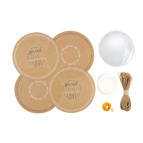 Kitchen Pantry 24 Piece Kraft Paper Jam Jar Cover Set