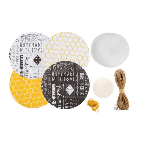 Kitchen Pantry 24 Piece Mixed Design Jam Jar Cover Set
