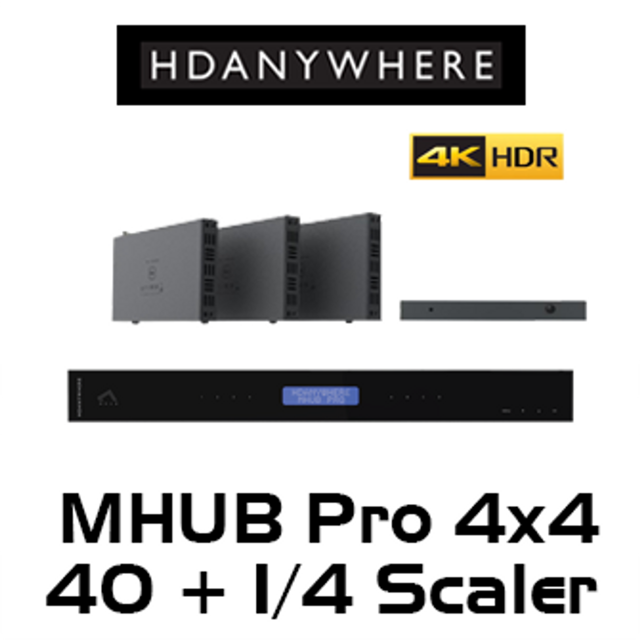 HDAnywhere MHUB Pro 4x4 40m 4K HDR HDMI/HDBaseT Matrix Switcher with 1/4  Scaling Receiver
