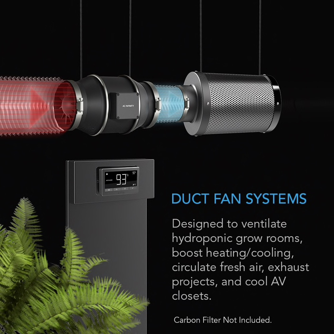 AC Infinity Cloudline In-Line Duct Fan with Thermal Control