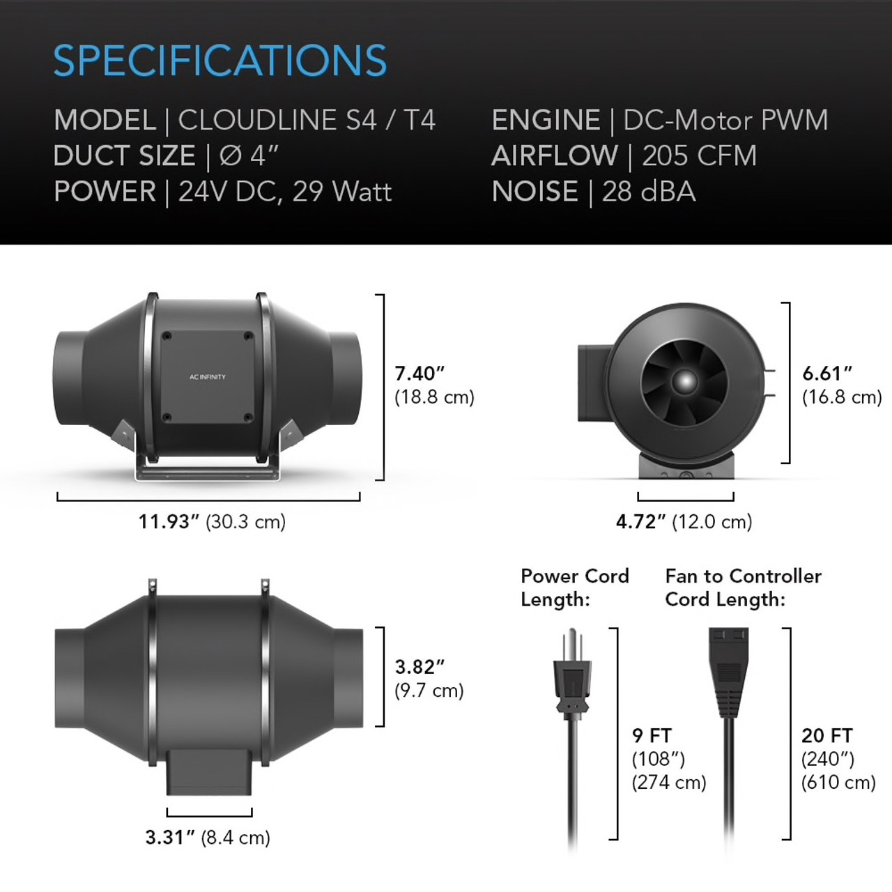 "4"" Duct Fan Specifications"
