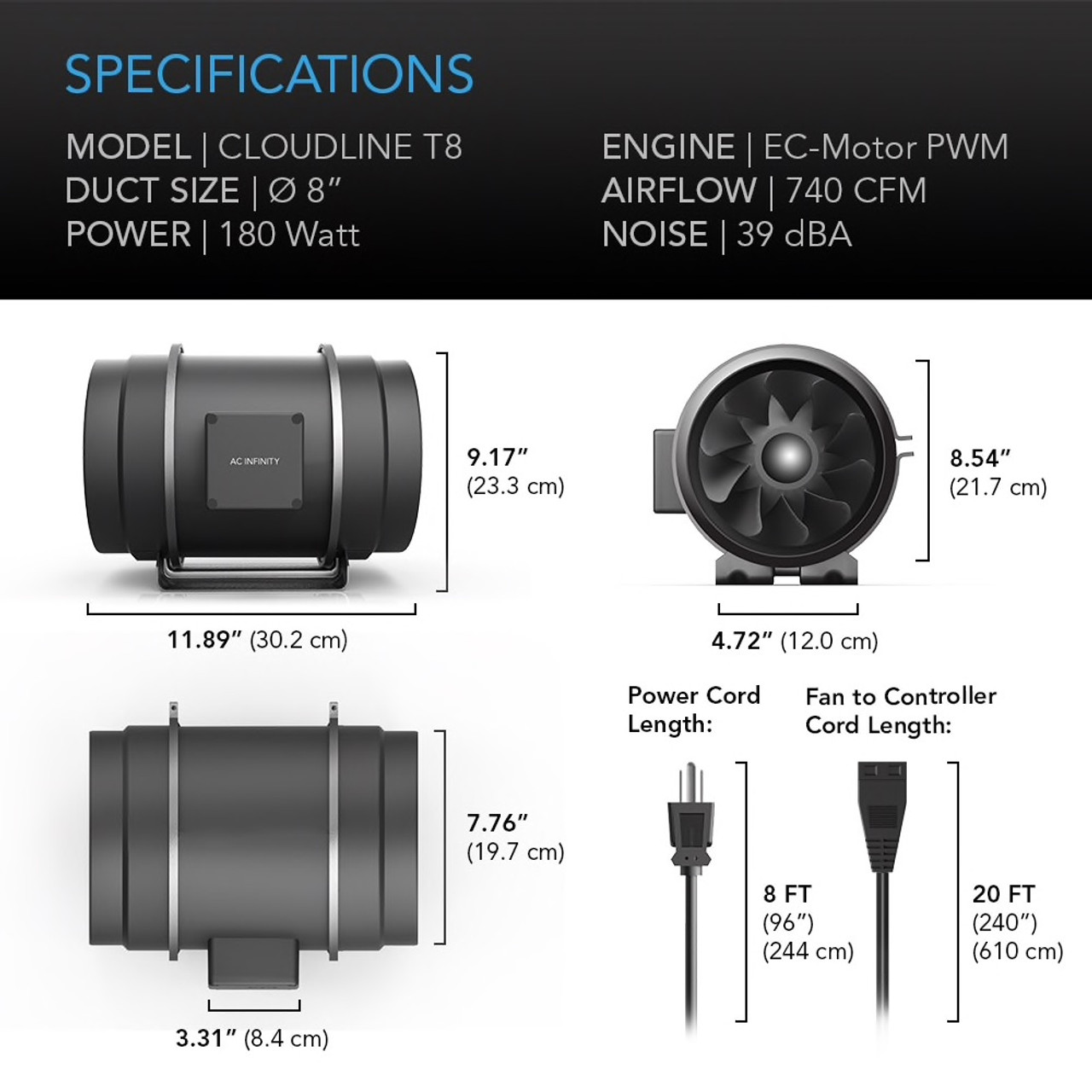 "8"" Duct Fan Specifications"
