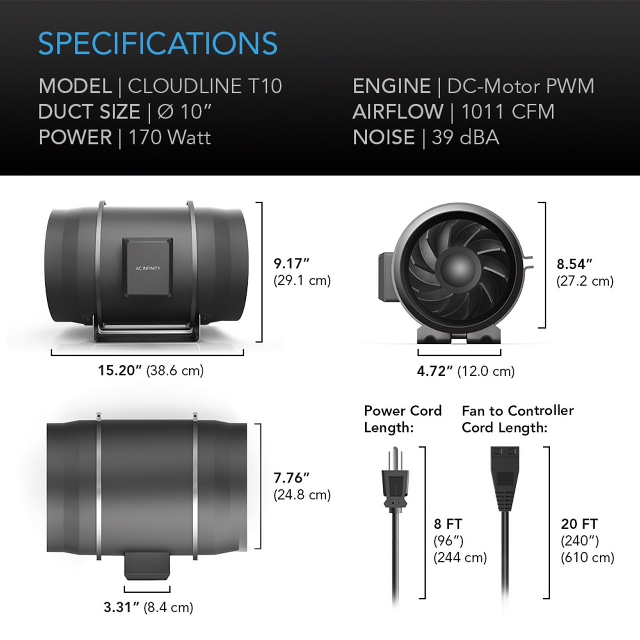 "10"" Duct Fan Specifications"