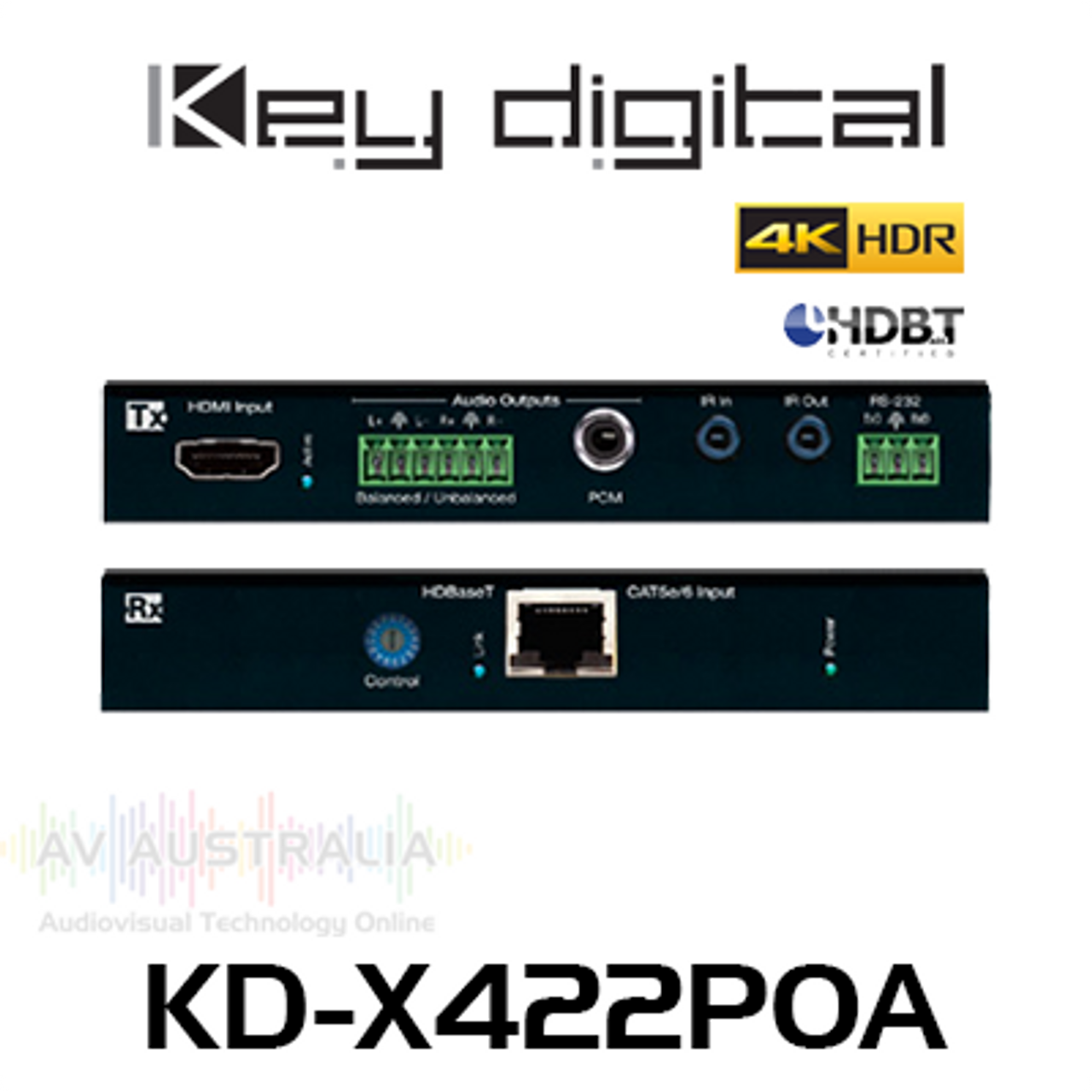 Key Digital KD-X422POA 4K PoH HDBaseT HDMI Extender Kit with Audio De-Embedder (45m)